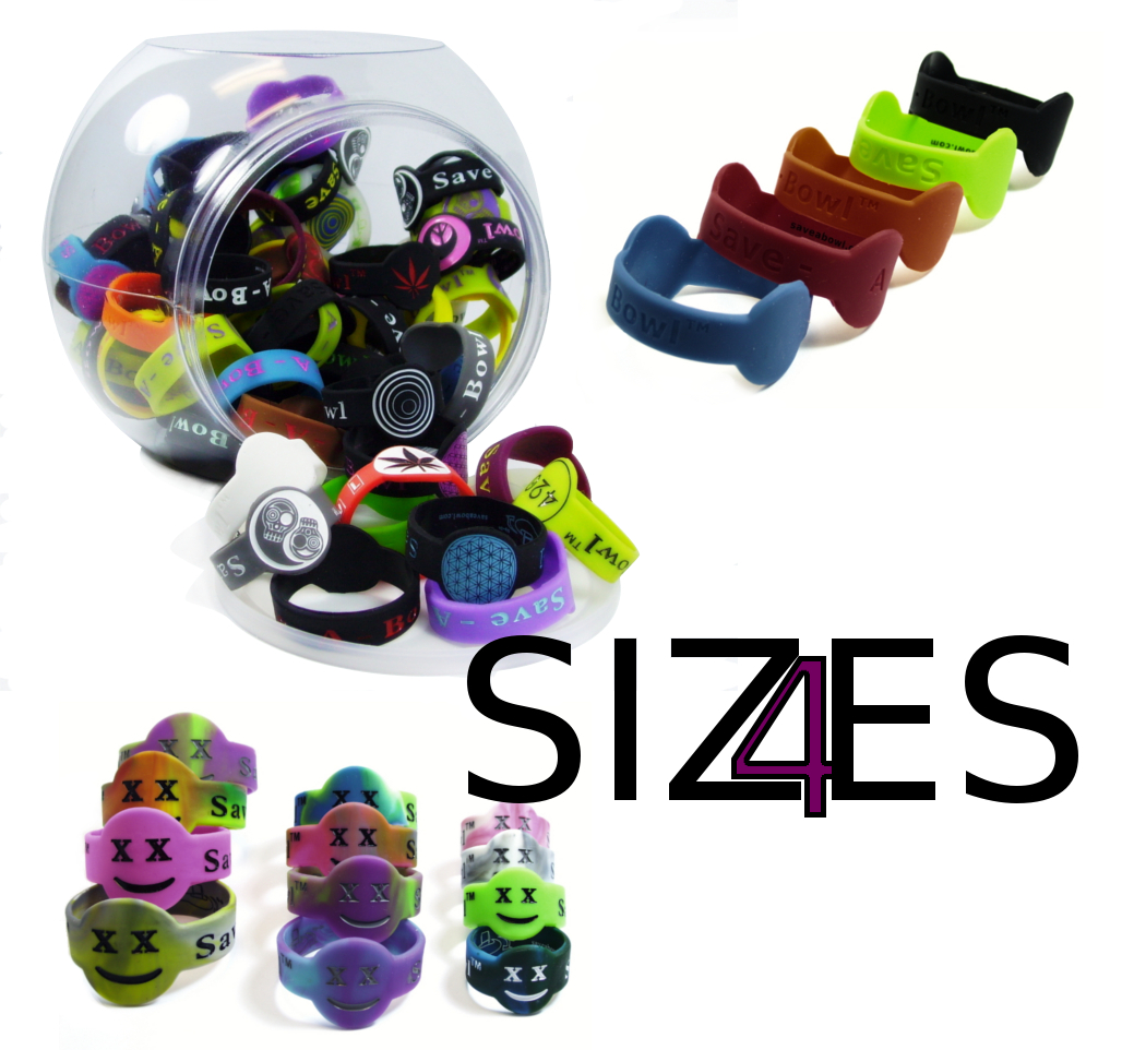 wholesale lot save-a-bowls in four different sizes to fit almost all glass pipes, metal pipes, wooden pipes, ceramic pipes